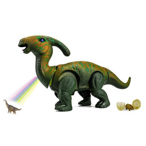 "15"" Large Realistic Walking Egg Laying Parasaurolophus  Dinosaur Toy With Sounds & Light"