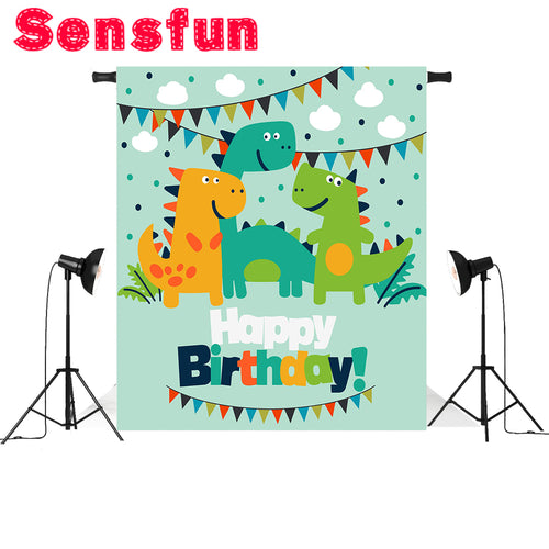 Kid Birthday Vinyl Dinosaur Backdrop