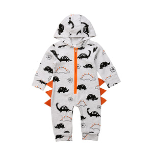 Baby Dinosaur Hooded Long Sleeve Romper