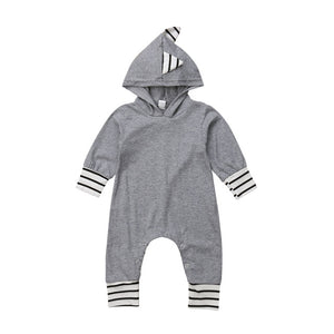 Baby Hooded Striped Dinosaur Long Sleeve Romper