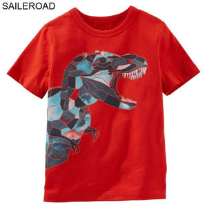 Cotton Geometric T-Rex Dinosaur T-Shirts