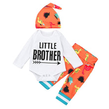 Little Brother Baby Long Sleeve Romper + Pants + Hat 3 Piece Set