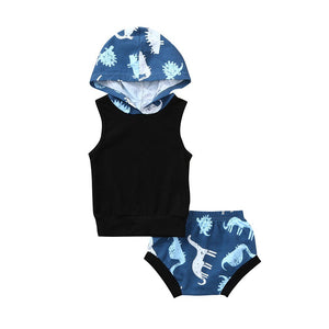 Cotton Baby Dinosaur Hooded Tank Top + Shorts 2 Piece Set