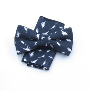 Dinosaur  Bow Tie Set Pocket Square Handkerchief Mens Butterfly Bow Tie Skinny Ties Set Slim Necktie