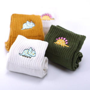 Embroidered Ribbed Ankle Dinosaur Cotton Women's Socks