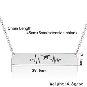 Dinosaur Silver Stainless Steel Heartbeat Necklace