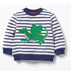 Magic Dragon Embroidered Striped Cotton Sweatshirt