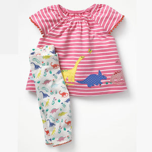 Dinosaur Applique Striped Baby Cotton Clothing 2 Piece Set Dress + Pants