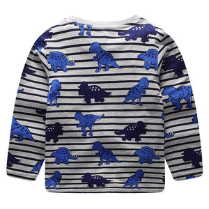 Blueasaur Striped Cotton Dinosaur Long Sleeve Shirt