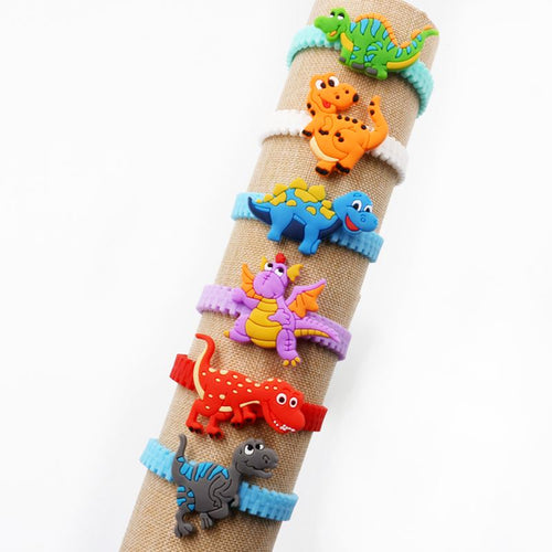 6pcs Dinosaur Party Favor Gift Rubber Bangle Bracelet