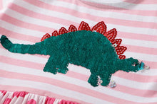 Cotton Dinosaur Stegosaurus Sequin Striped Short Sleeve Dress 5 Color & Print Options