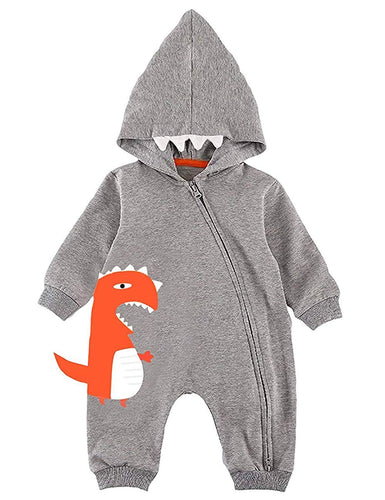 Newborn Baby Boy Dinosaur Toddler Long Sleeve Romper Zipper Pajamas Hoodie Outfit