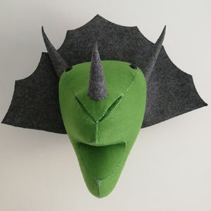 Stuffed Felt Triceratops Dinosaur Head Wall Trophy Mount