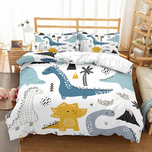 Dinosaur Drawing Microfiber Duvet Cover Sets