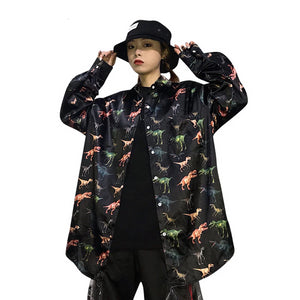 Oversized Harajuku Womens Button Down Blouse