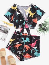 Dinosaur Knotted Crop Top & Shorts