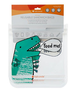 Eco Friendly Dinosaur Reusable Sandwich Bags - Set of Two