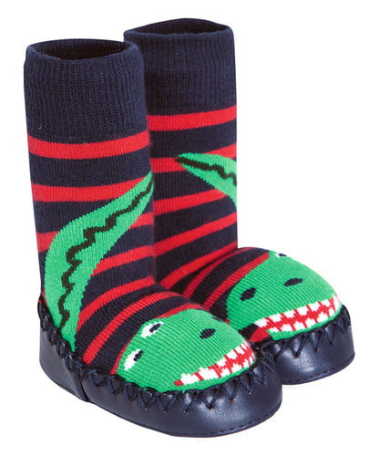 Blue Stripe Dinosaur Slipper Boots - Infant & Kids