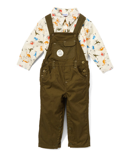Green Dinosaur Twill Overall Set - Infant
