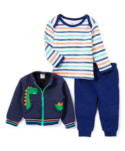 Blue Dinosaur 3 Piece Jacket Set - Infant