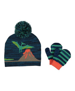 Midnight Dinosaur Pom-Pom Beanie & Mittens - Infant