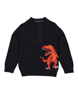 Navy & Red Dinosaur Button-Front Pullover - Infant & Toddler