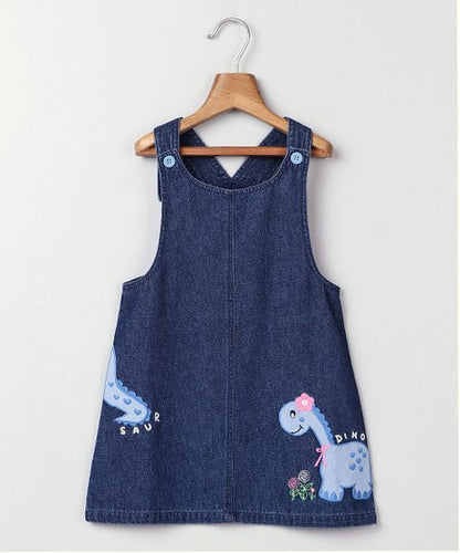 Blue Dinosaur 'Dino' Embroidered Denim Jumper - Newborn, Infant, Toddler & Girls