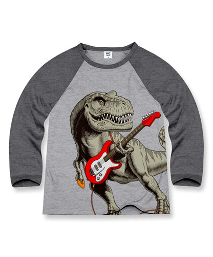Cotton Dark Heather Gray Dinosaur Riff Raglan Tee - Toddler