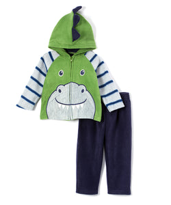 Green Dinosaur Zip-Up Hoodie & Blue Sweatpants 2 Piece Set - Newborn & Infant