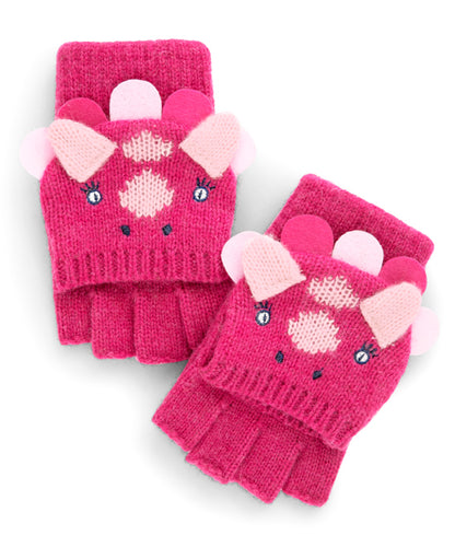Wool Blend Fuchsia Dinosaur Face Fingerless Gloves