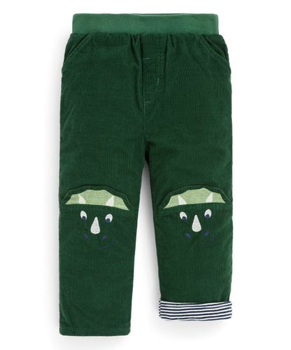 Green Triceratops Dinosaur Knee Elastic-Waistband Corduroy Pants - Newborn & Infant