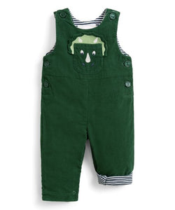 Green Triceratops  Dinosaur Corduroy Dungarees - Newborn & Infant