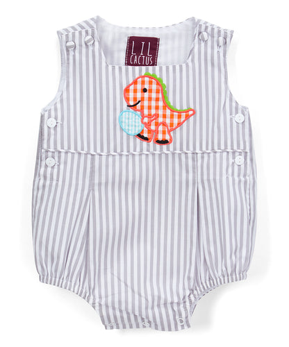 Light Gray Stripe Easter Dinosaur Romper - Infant & Toddler