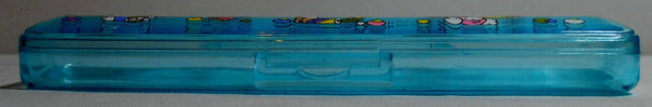 Clear Blue Retro 80's Pencil Box Vintage Stationary Acrylic Case