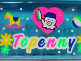 Topenny Vintage 80's Anime Pencil Case Blue Mechanical Box Stationary