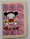 "Retro Japanese Pucca Cartoon Anime Wallet 5"" Slim Trifold Billfold w/ Zipper Cord"