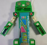 Vintage Pencil Case 80's Retro Green Robot Mecha Multi-Function Mechanical Button Stationary Box Toy in Original Package