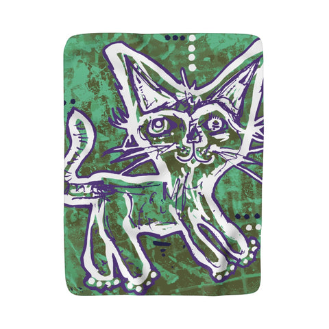 P8N Kitty Cat Sherpa Fleece Blanket Youth Artist Collaboration