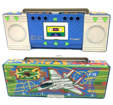 80's Flomo Retro Boombox / Fighter Jets F-15 Pencil Case Multi-Compartment Vintage Stationary