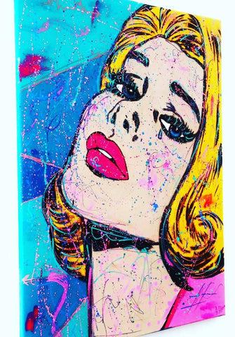 Alina Alieva Original Pop Art Painting Untitled Women Acrylic on Stretched Canvas Signed 50x70