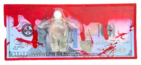 AEQEA Wage Slave One FAKE MADE Blood Money $100 Dollar Bill Bootleg Art Toy