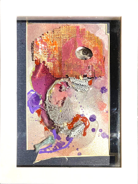 "AEQEA ""Eye on the prize not a surprise, a handful of lies steals all your time."" original art mix media collage framed"