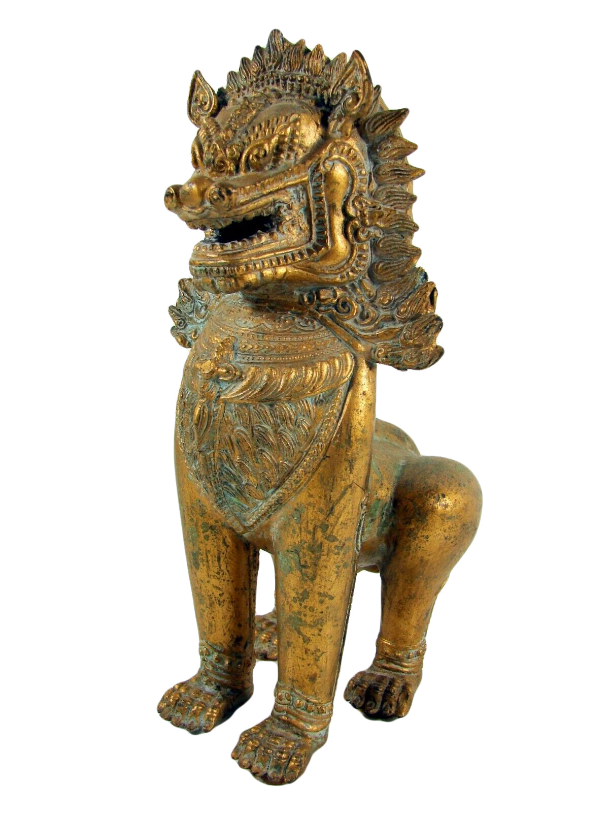 Antique Foo Foo Dog Chinese Imperial Guardian Lion Shishi Khmer Sculpture Cambodia Bronze Gilt Statue 11""