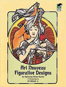 Art Nouveau Figurative Designs Dover Pictorial Archive of Alphonse Marie Mucha, Vintage Adult Coloring Book Paperback
