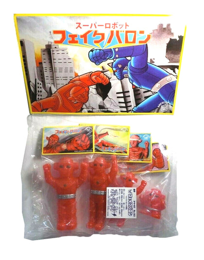Fake Baron Sofubi Set of 4 Red Glitter Mini Soft Vinyl Figures by Awesome Toy