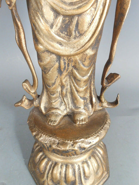 Antique Korea Rare Glit Bronze Fine Art Korean Statue Kannon Figure 19-20th c. 21""