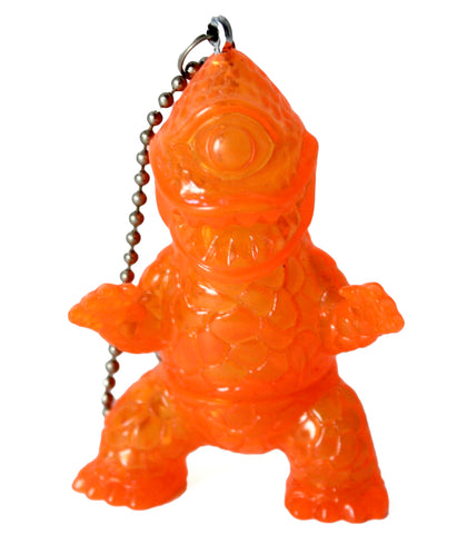 Gargamel Crouching Zagoran Mini Zag Sofubi Transparent Orange Sofvi Kaiju Keychain Pendant Art Toy Figure