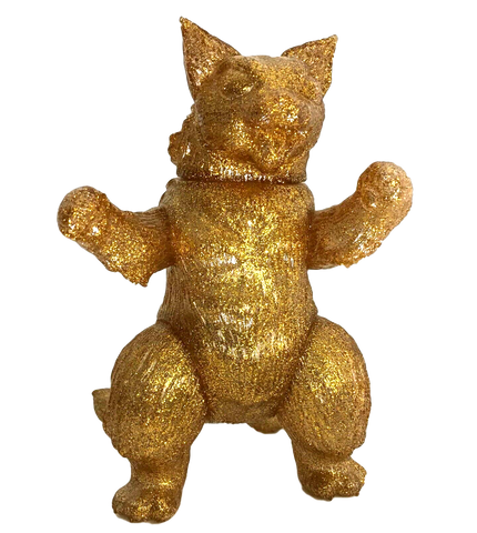 MaxToy Kaiju Cat King Negora Unpainted Sofubi Gold Glitter Blank Rare Limited Version Designer Toy