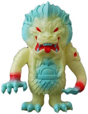 Super7 Mongolion Ghastly Glow SSSS GID Sofubi L'amour Supreme Designer Toy w/ Blue and Red Spray