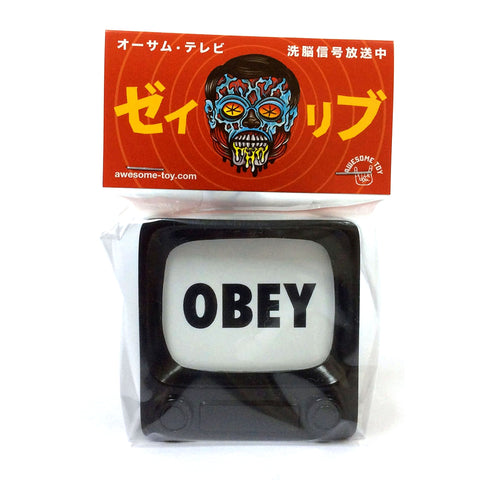 OBEY TV Sofubi Unpainted Black Brainwash TV by Awesome Toy